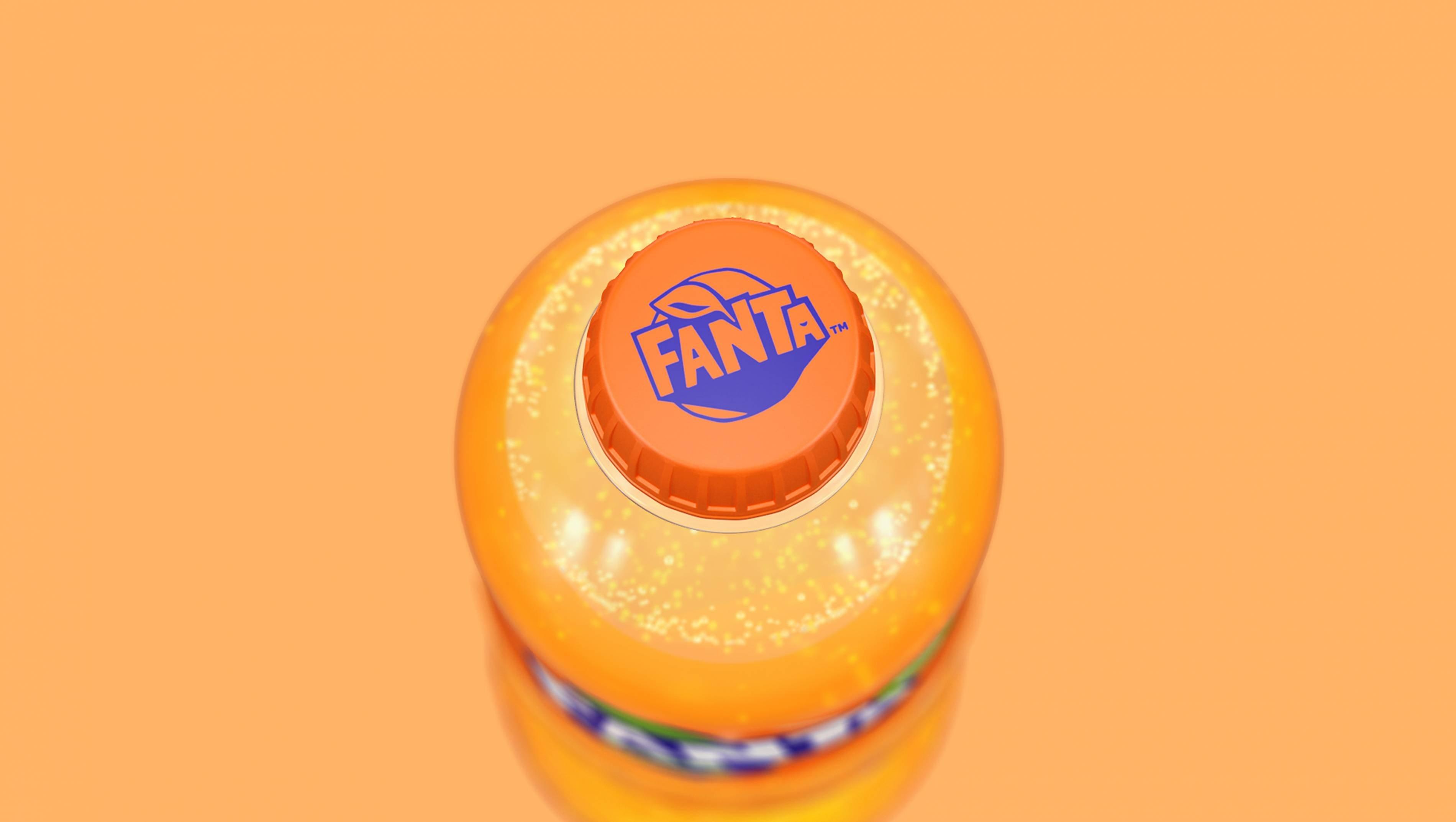 芬达logo在瓶盖效果
